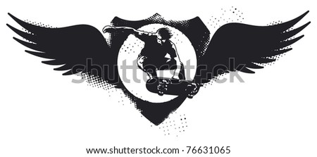 grunge skate shield with wings