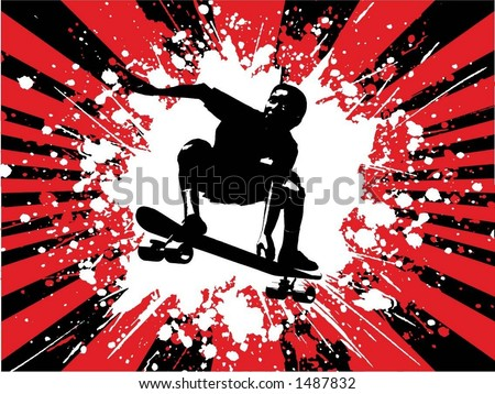 Grunge skateboarder - vector