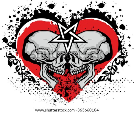 grunge skull coat of arms heart pentagram