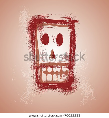 Grunge skull graphic face in separate layers