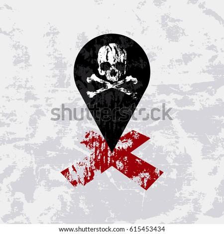 Grunge skull search pointer hidden treasure vector illustration