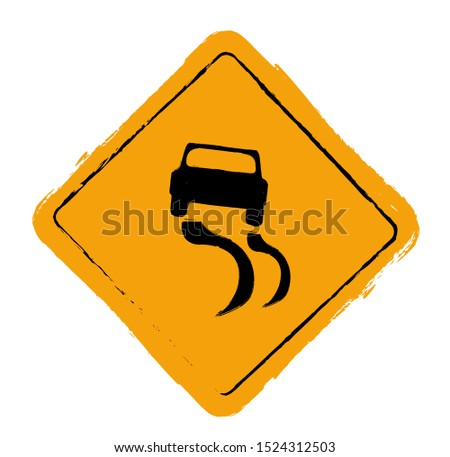 Grunge slippery road sign vector.