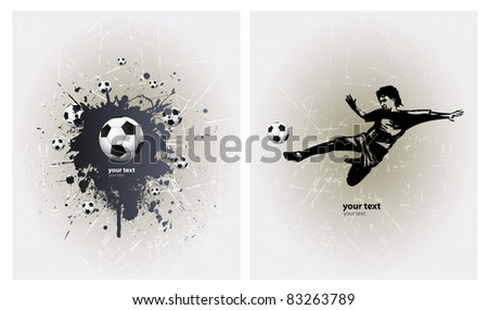 Grunge Soccer Ball background with player