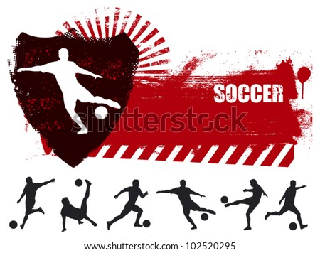 grunge soccer banner with many