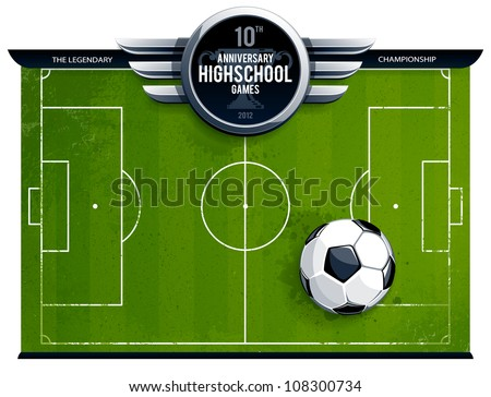 Grunge soccer field with ball and cirle metallic banner for your announcement . Vector illustration.