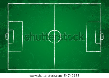 Grunge soccer field with chalk drawn lines.