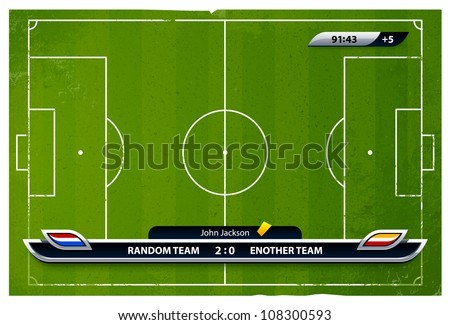 Grunge soccer playing field with statistics elements. Vector illustration.
