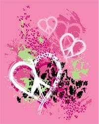 grunge splattered peace heart design with animal print background