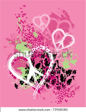 ... peace heart design with animal print background - stock vector