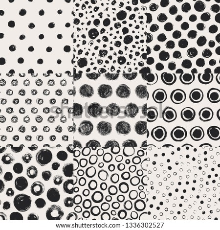 Grunge spots, circles hand drawn vector seamless patterns set. Ink dirty texture. Black paint dry brush splodges, blotches, stamps. Rough blots, splotches. Wallpaper, wrapping paper, background design