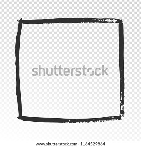 Grunge square frame. Black brush strokes cadre, watercolor paint brushes label design or doodle squared shape hand drawn scribble rectangular photo frames vector template Photo stock ©
