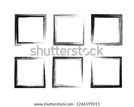 Grunge square frames. Set of 6 different hand drawn rectangle borders. Pencil stroke. Box for picture or text. Social media post layout. Vector illustration. Easy to edit template for your design.