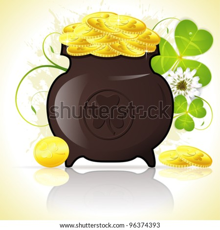 Grunge St. Patrick's Day Background with Cauldron, Coins and Clover Leaf, vector illustration