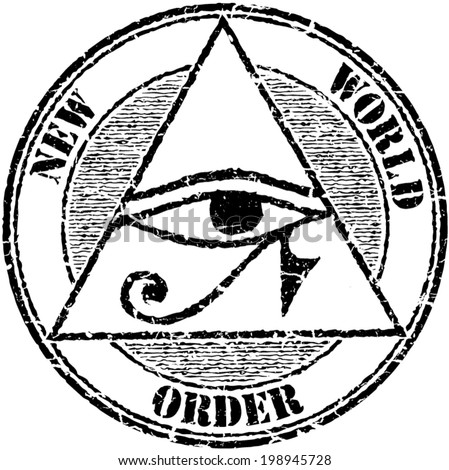 Grunge stamp 'New world order' with a Horus eye