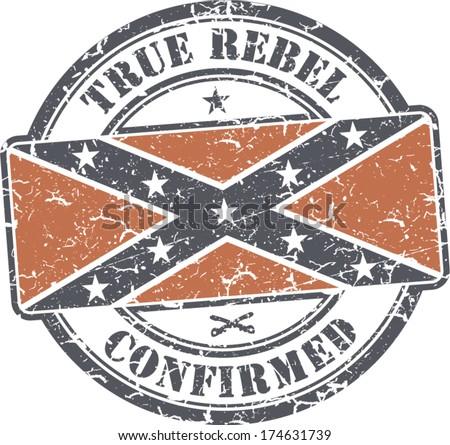 grunge stamp  southern flag