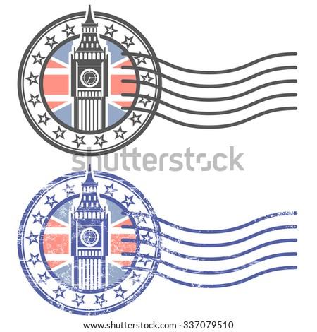 Grunge stamp with Big Ben and British flag - landmark of London