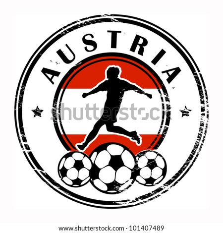 Grunge stamp with football and name Austria, vector illustration
