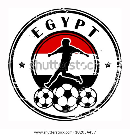 Grunge stamp with football and name Egypt, vector illustration
