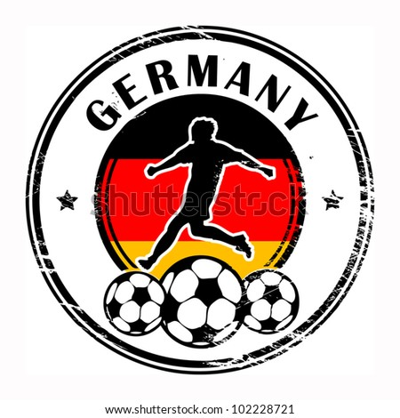 Grunge stamp with football and name Germany, vector illustration