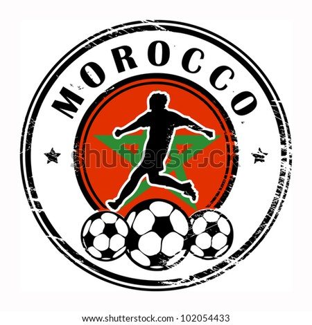 Grunge stamp with football and name Morocco, vector illustration