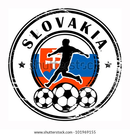 Grunge stamp with football and name Slovakia, vector illustration