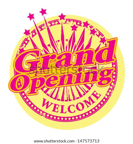 Grunge stamp with the text Grand Opening written inside the stamp, vector illustration