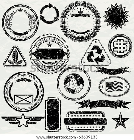 Grunge stamps design elements - vector objects isolated, separated and groupped