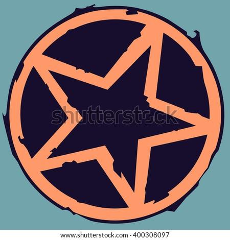 grunge star in circle vector