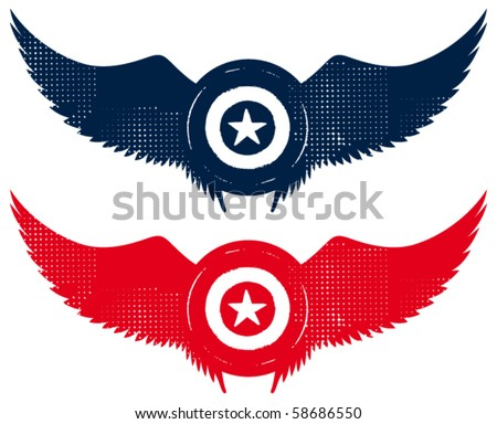 grunge star shield with wings - stock vector