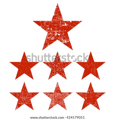 Grunge stars. Set of red grunge star. Vector illustration.