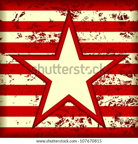 Grunge striped background. In the center background is a star. EPS-8.