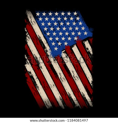 Grunge Style American Flag, idea for t-shirt, banner, poster, us flag 1776