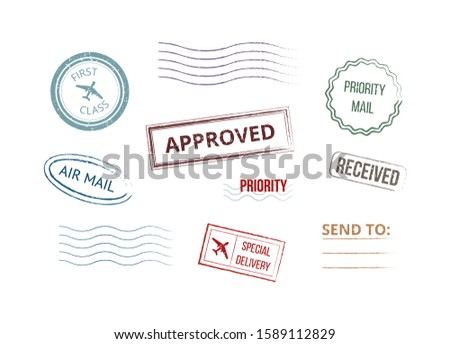 Grunge style colorful postmarks stamps set of realistic vector illustrations isolated on white background. Retro letters, parcels and post mailing symbols collection. Foto stock ©