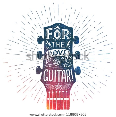 Grunge style colorful vector guitar neck silhouette with white doodle style details and lettering inside: For the love of guitar