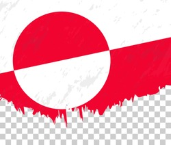 Grunge-style flag of Greenland on a transparent background. Vector textured flag of Greenland for vertical design.