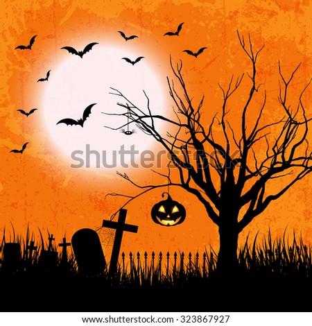 Grunge style Halloween background with bats, jack o lantern and owl