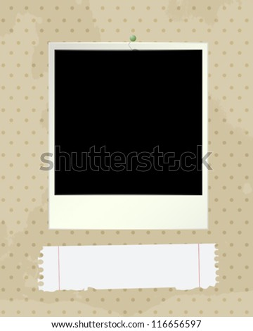 Grunge style illustration with an empty photo-frame and paper note.