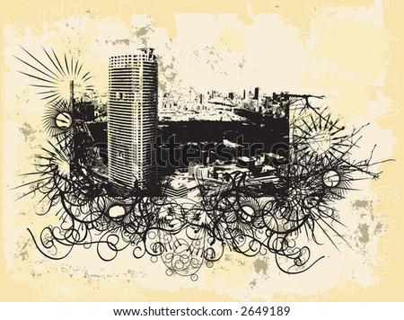 Grunge style image of Tokyo