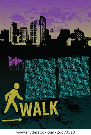 Grunge style layout with road theme and walk sign
