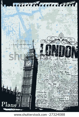Grunge style news print layout of London's Big Ben Clock - stock vector