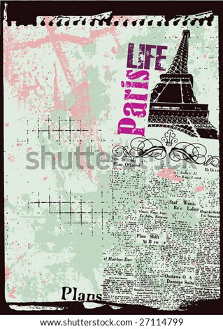 Grunge style news print layout of paris eiffel tower