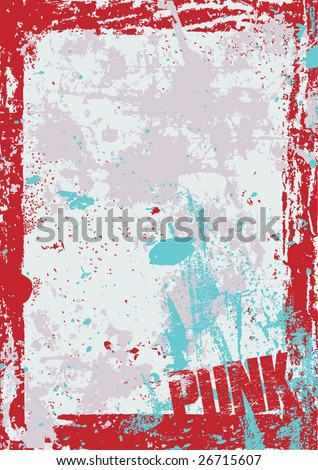 Grunge style punk themed layout in vector format