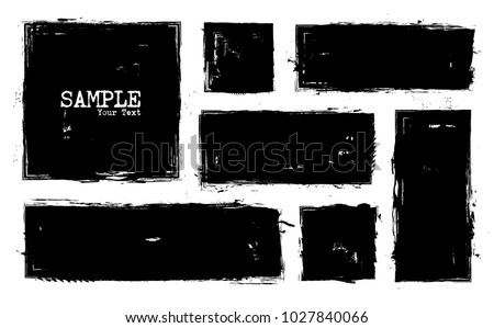 Grunge style set of square and rectangle shapes