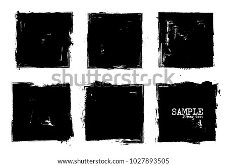 Grunge style set of square shapes . Vector .