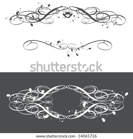Grunge style vector set of flourish frames with space for your company name. Distressed and ink smudged. (Flourish Frames 6)