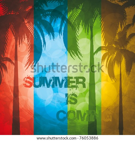 Grunge summer holiday background.Tropical banner