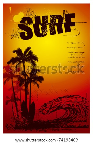 grunge surf poster with big wave and sunset
