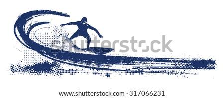 grunge surf scene with pipeline
