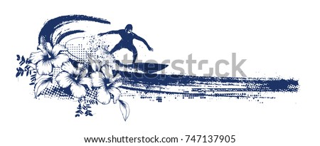 grunge surf scene with surfer