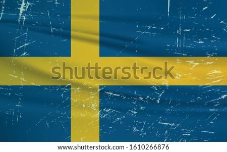Grunge Sweden flag. Sweden flag with waving grunge texture. Vector background.